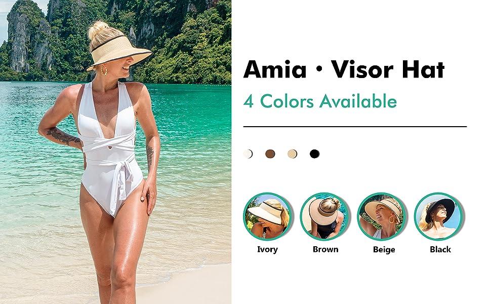 womens visor hat for summer in ivory white brown beige black Amia visor sun hat for women easy carry