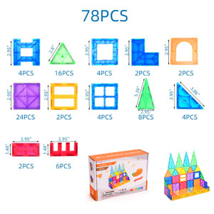 Package include 78pcs magnetic tiles