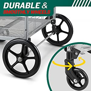 grocery cart with wheels