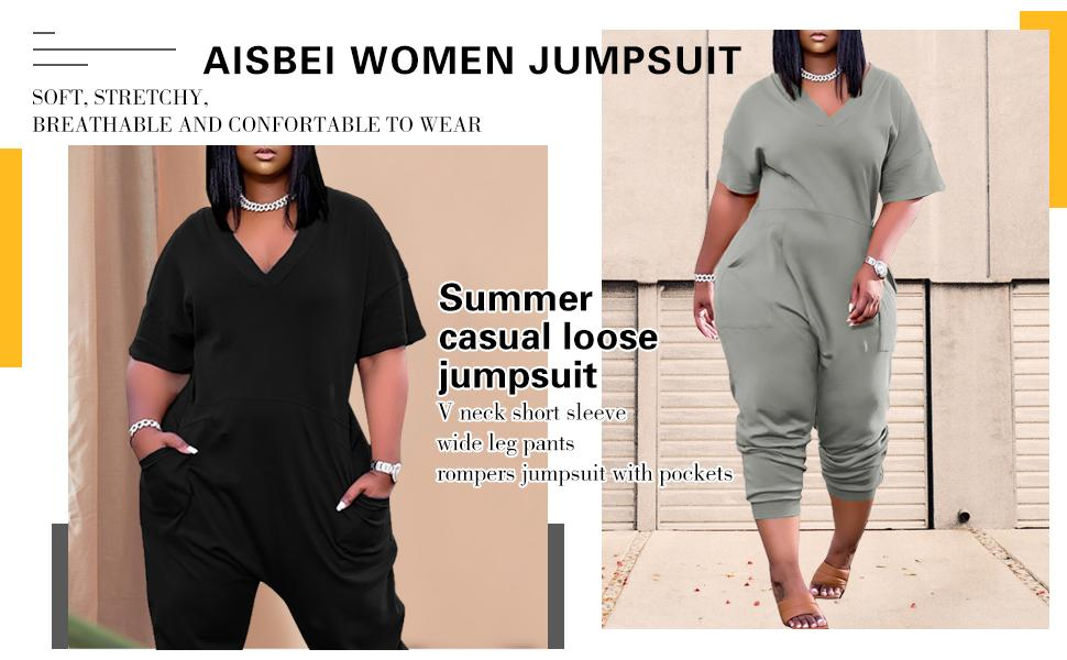 Long Romper One Piece Outfits with Pockets