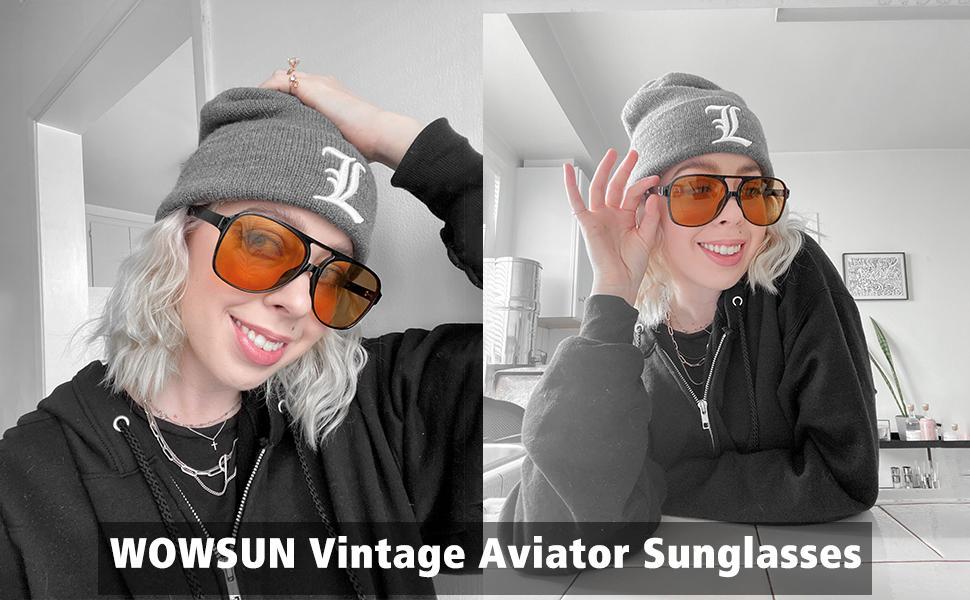70s vintage aviator retro yellow tinted sunglasses for women