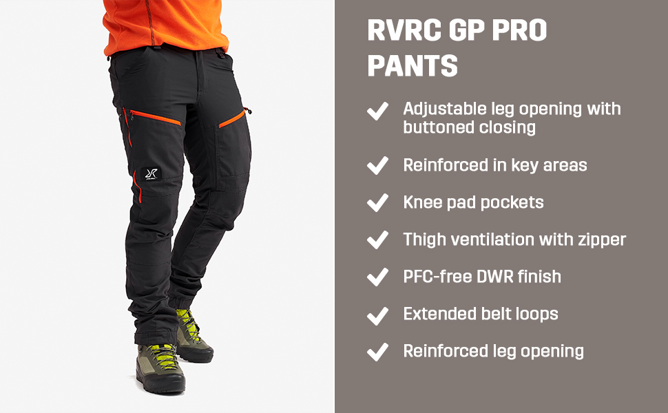 Adjustable and reinforced leg opening, knee pads pockets, thigh ventilation.