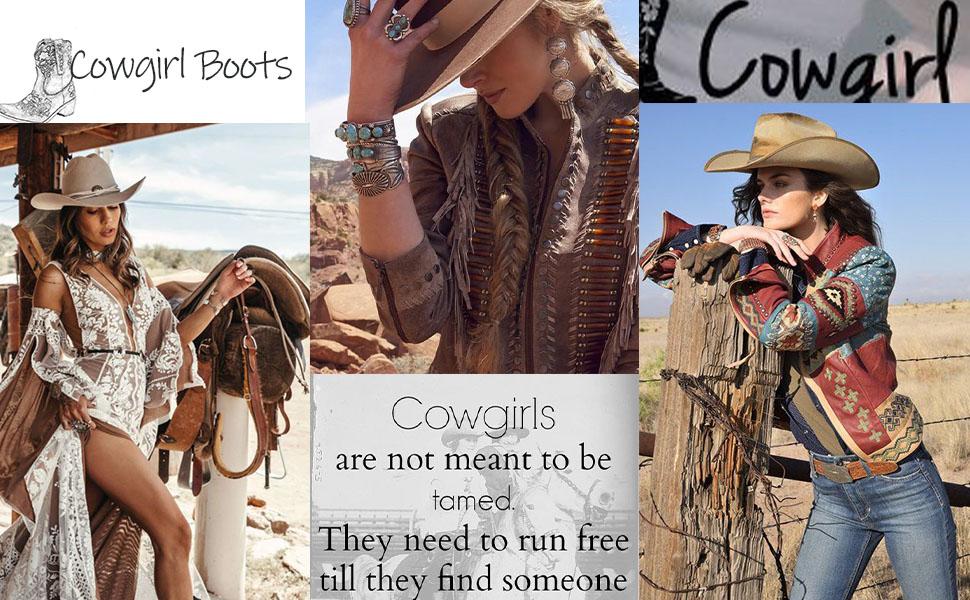 Women Vintage Flower Embroidered Cowgrirl Boots