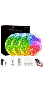 50 ft led strip lights smart music sync