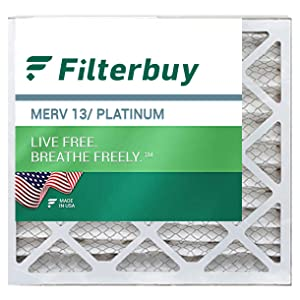 filterbuy merv 13 pleated replacement air filter for hvac ac furnace square