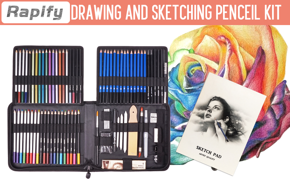 Drawing and Sketching Penceil Kit Expand artist's tool kit for more creative captivating results
