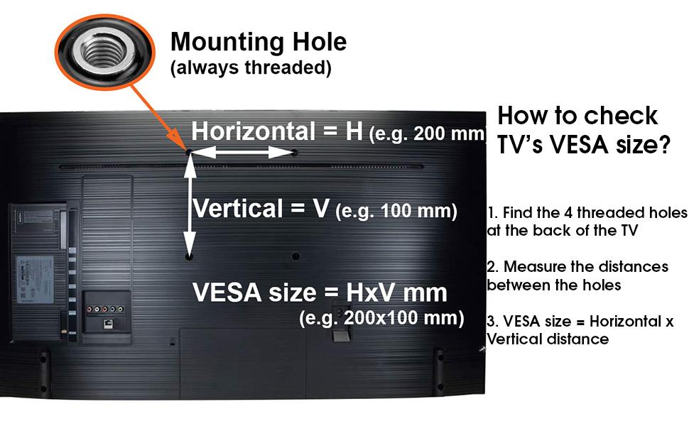 TV wall bracket VESA size check compatibility measure how
