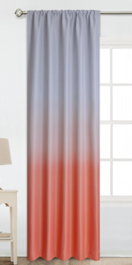 Rod Pocket Greyish White to Coral Ombre Room Darkening Ombre Curtains