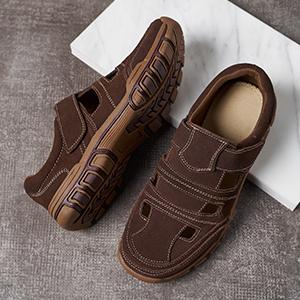 Mens Summer leather sandal shoes for hiking beach walking