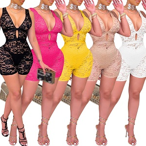 PORRCEY Women Sleeveless Club Overalls Lace Bodycon Romper Party Jumpsuits