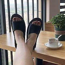 Women's Leather Sandals Strap Flat Slides Lightweight Summer Shoes