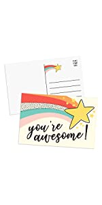 you are awesome postcard with star colorful cute fun design with place stamp and note lines