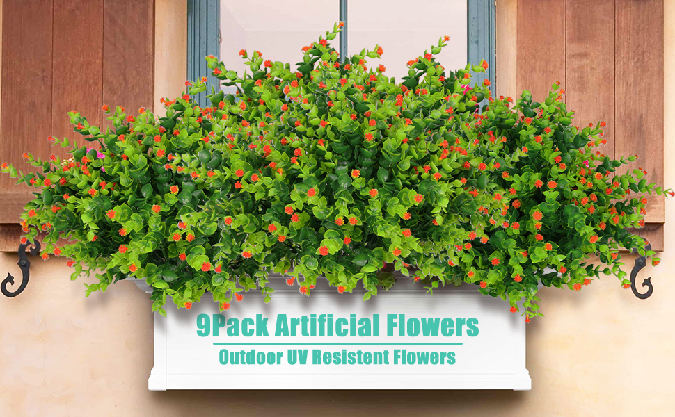 Edvision 9pack artificial flowers(orange)