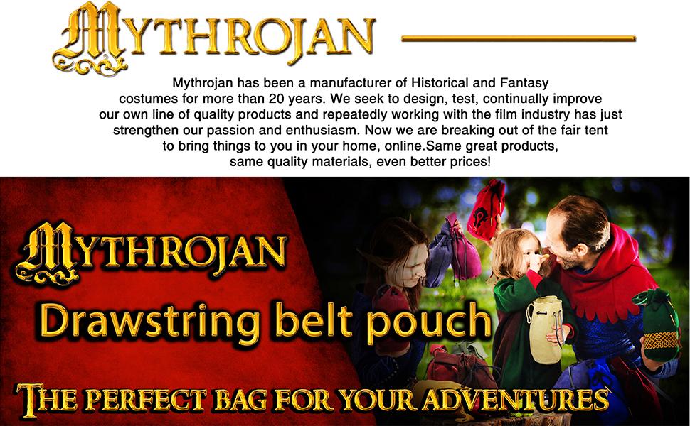 Mythrojan drawstring belt pouch suede LARP SCA MEDIEVAL KNIGHT bag purse