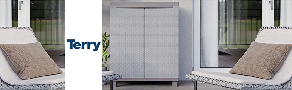 Armoire basse plastique effet rotin Terry Store Age