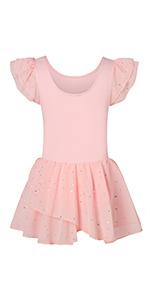 Girls Ballet Dance Dress Glitter Leotards with Tutu Skirt