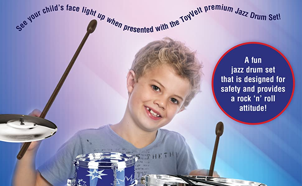 ToyVelt Jazz Drum Set Features