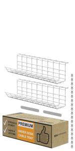 Under Desk Cable Organizer Wire Management Cable Tray White