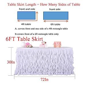 6ft table skirt