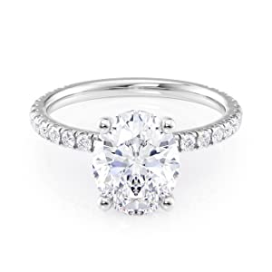 front view Oval Moissanite Ring