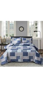 blue plaid quilts