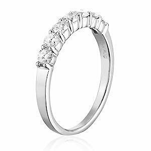 Vir Jewel  1/2 cttw 7 Stone Diamond Wedding Band 14K White Gold Prong Set Round