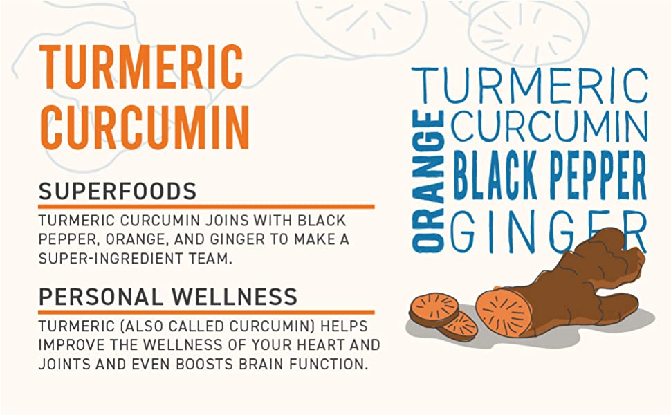 """Turmeric root with graphic of ingredients.""""Turmeric Curcumin with Superfoods for Personal Wellness"""""""