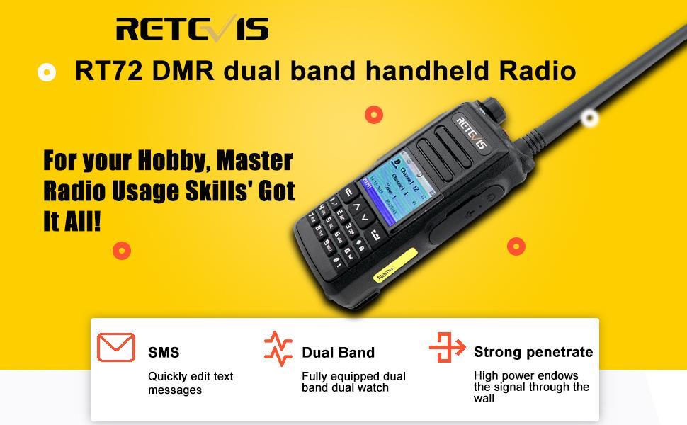 Retevis RT72 DMR walkie talkie is a dual band handheld walkie talkie