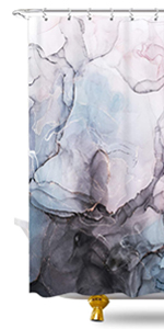 Blue Marble Shower Curtain Set for Bathroom Decor