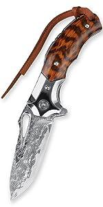 Damascus steel folding knife