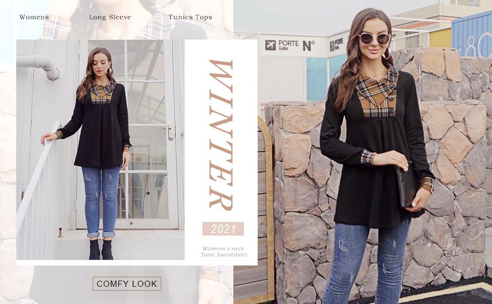 Women's Long Sleeve Button Lapel Pullover Tunic Swing Sweatshirt