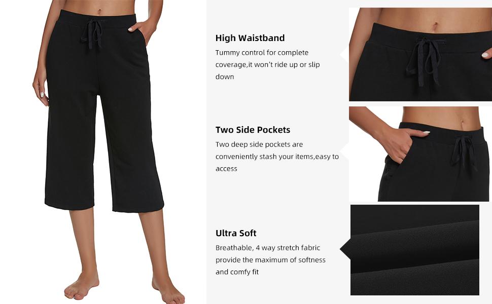 Women's Active Yoga Lounge Indoor Jersey Capri Pant