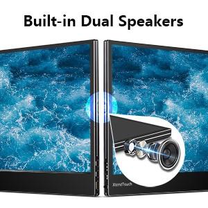 built-in dual speakers