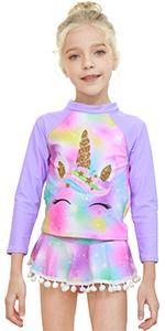 girls kids unicorn rashguard swimsuits long sleeve