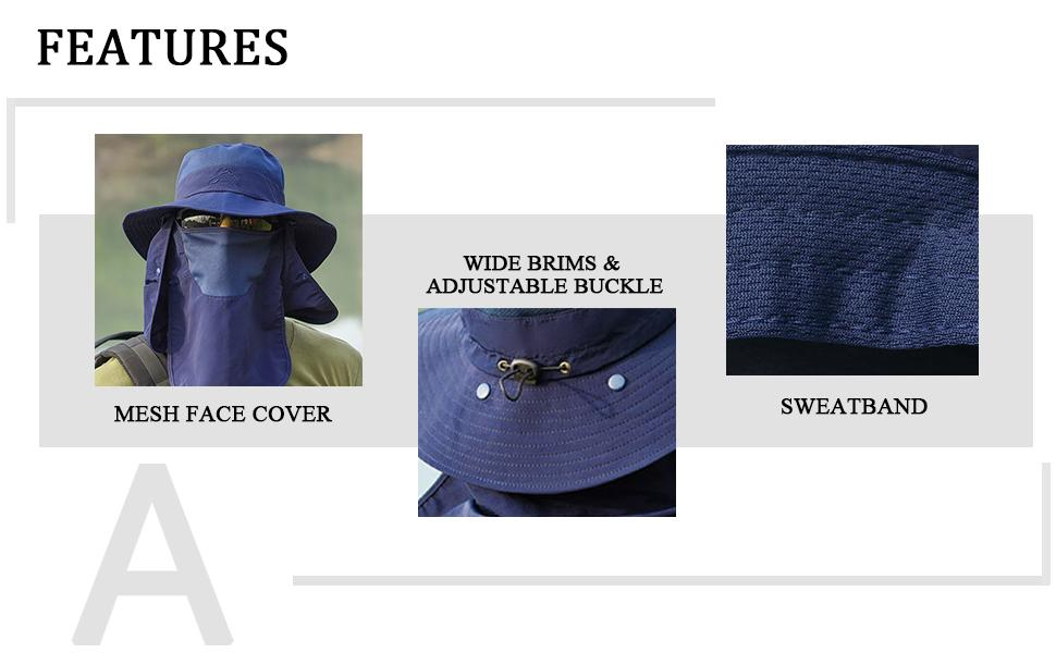 mesh face cover wide brims & adjustable buckle  sweatband