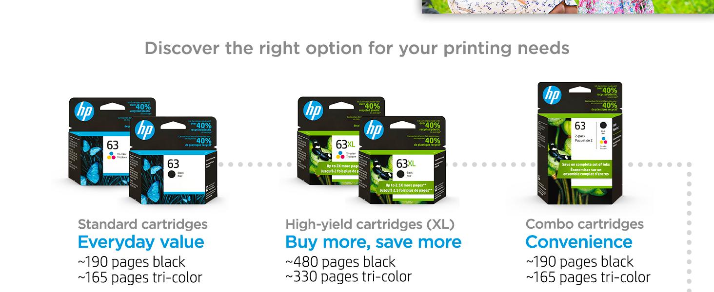 original hp 63 ink standard high-yield multipack cartridges Instant Ink value