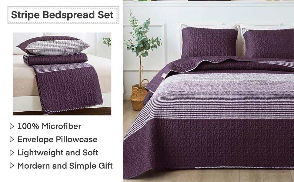 purple stripe quilt