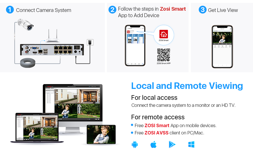poe security cameras system - local and remote viewing with zosi smart app