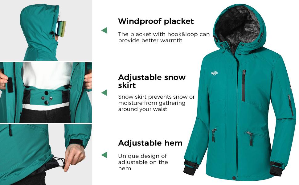 Wantdo Womens Waterproof Fleece Ski Jacket