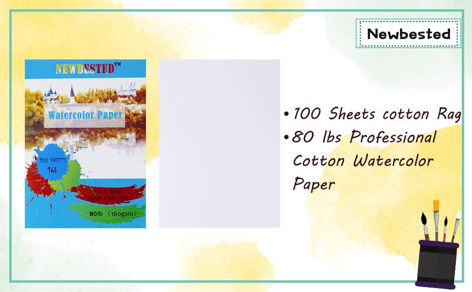 100 Sheets cotton Rag 94 lbs Professional Cotton Watercolor Paper