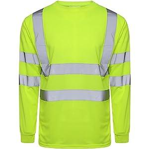 Hi Viz Vis Crew Neck Single Tone T Shirt Full Sleeve Safety Security Work Yellow