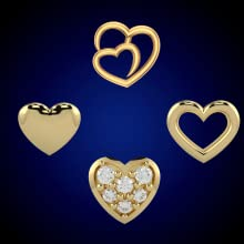 Love heart tooth gems yellow gold plated iced out open solid 4