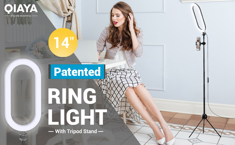 """QIAYA Patented 14"""" Ring Light with Stand"""