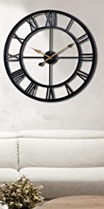 24 inch Large Metal Wall Clock Industrial Decorative Clocks for Living Room
