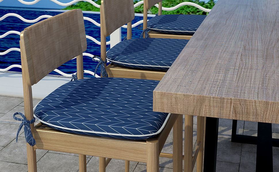 outdoor/indoor seat cushions for kitchen chairs set of 4 patio chair pad with ties navy grey beige