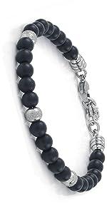10:10 Bracciale in acciaio inox e pietre naturali black