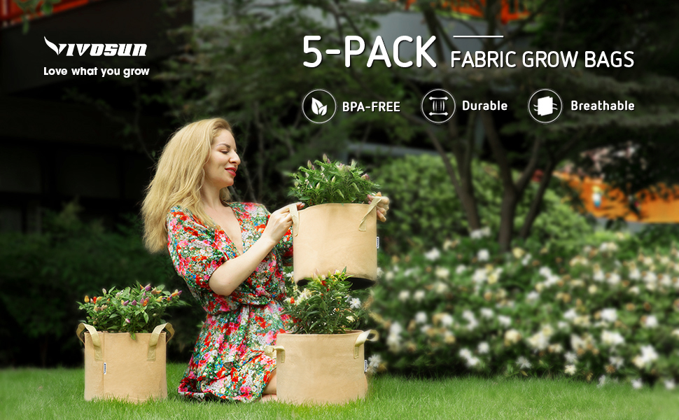 5 Pack Fabric Grow Bags