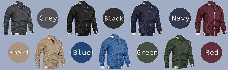 EKLENTSON Jackets for Men Spring Aviator Slim Fit Military Golf Jacket Outwear