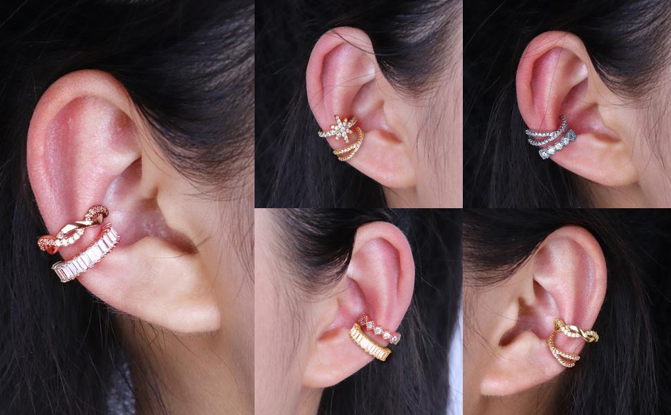 Sparkling Non-Piercing Adjustable Huggie Ear Cuff for Women Teen Girls