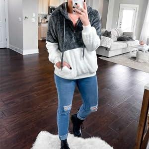 half zip neck hoodies